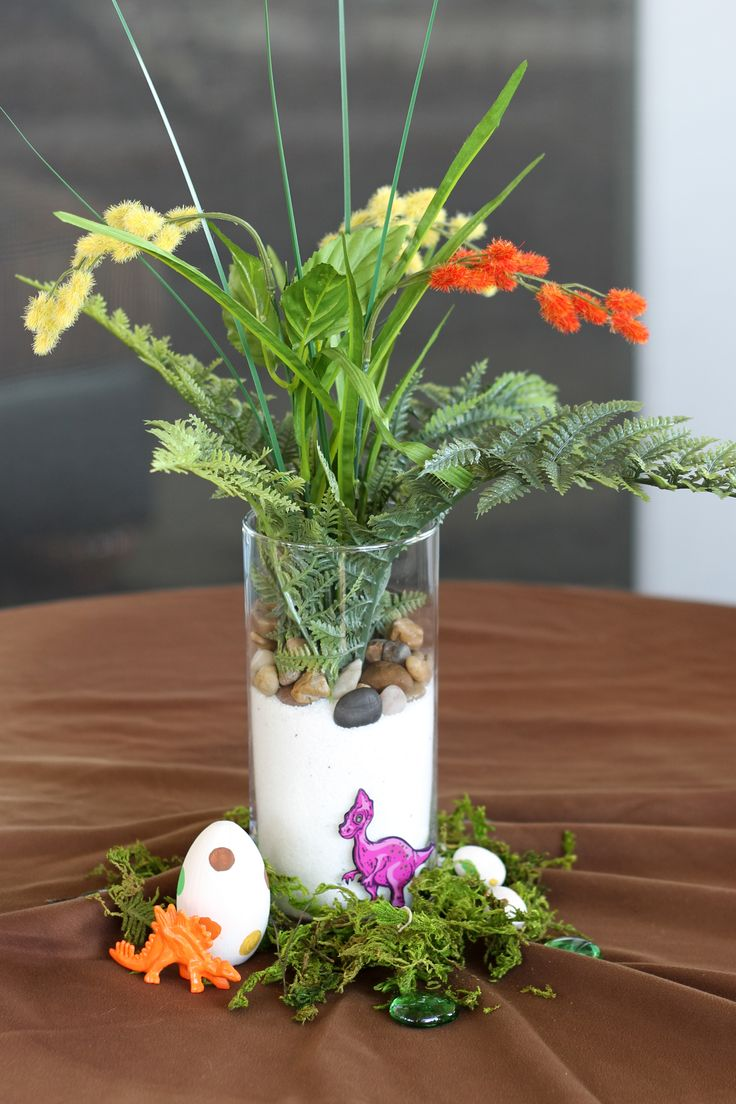 Dinosaur theme baby shower boy it 39 s a boy egg moss craft Baby boy shower centerpieces for tables