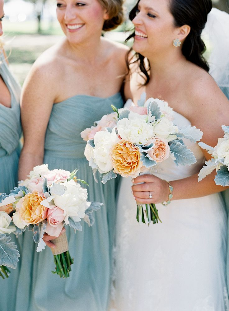 Stunning dusty blue and peach #wedding look | Photography: Virgil Bunao - virgilbunao.com  Read More: http://www.stylemepretty.com/2014/05/08/rustic-southern-winter-wedding/