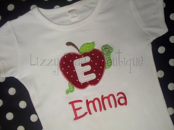 Back to School applique shirt- Kindergarten shirt- Back to School outfit on Etsy, $24.00