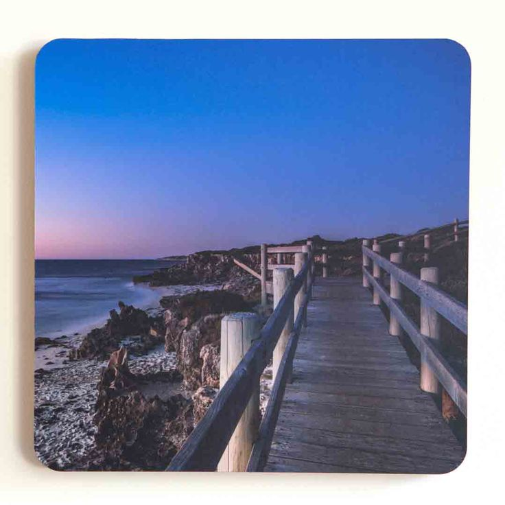 Jo Ward Photography - Nightfall The night sky drawing in at Ocean Reef, Western Australia 300 mm square image mounted onto 20mm raw dark edged  timber panel with a matte optically clear laminate A routed groove on the back allows easy wall hanging $70