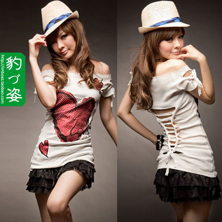 2012 personality hole racerback strapless love print short sleeve T shirt top female-in T-Shirts from Apparel & Accessories on Aliexpress.com