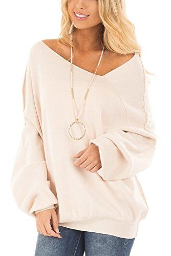 6b01741b4 EAG Women s Off Shoulder Batwing Sleeve Splicing Slouchy Oversized  Sweatshirt Pullover Shirt