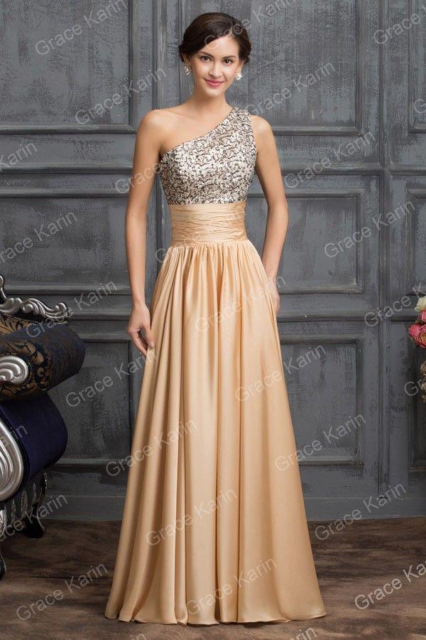 Gracia Karin 2015 el último diseño de un hombro lentejuelas vestido de noche largo CL007529-1