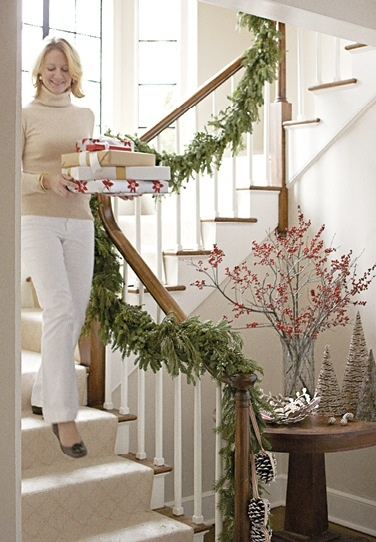 51 best deck the halls images on pinterest christmas for Hanging garland on staircase