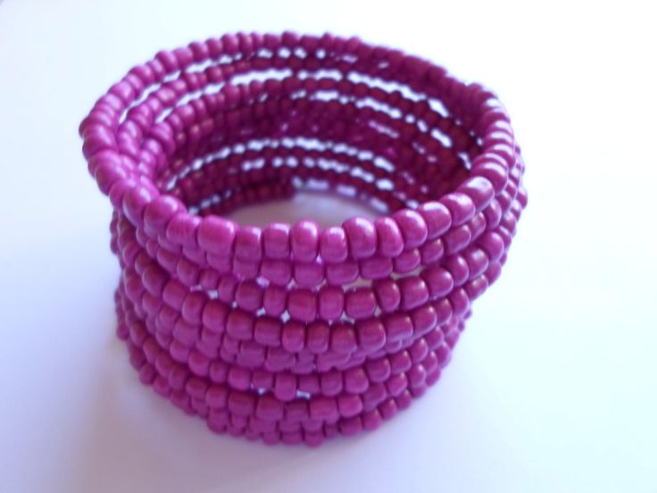 S A L E !!! Fuchsia glass seed beads bracelet. Wire wrapped fuchsia bracelet. by SiDaStyle on Etsy