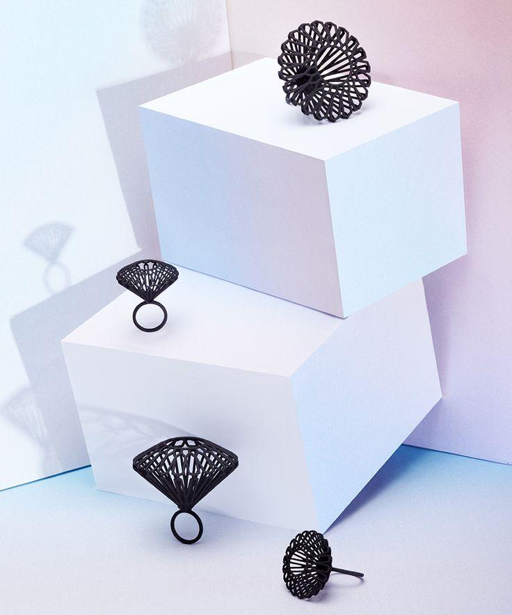 Large Black 3D Printed Rings