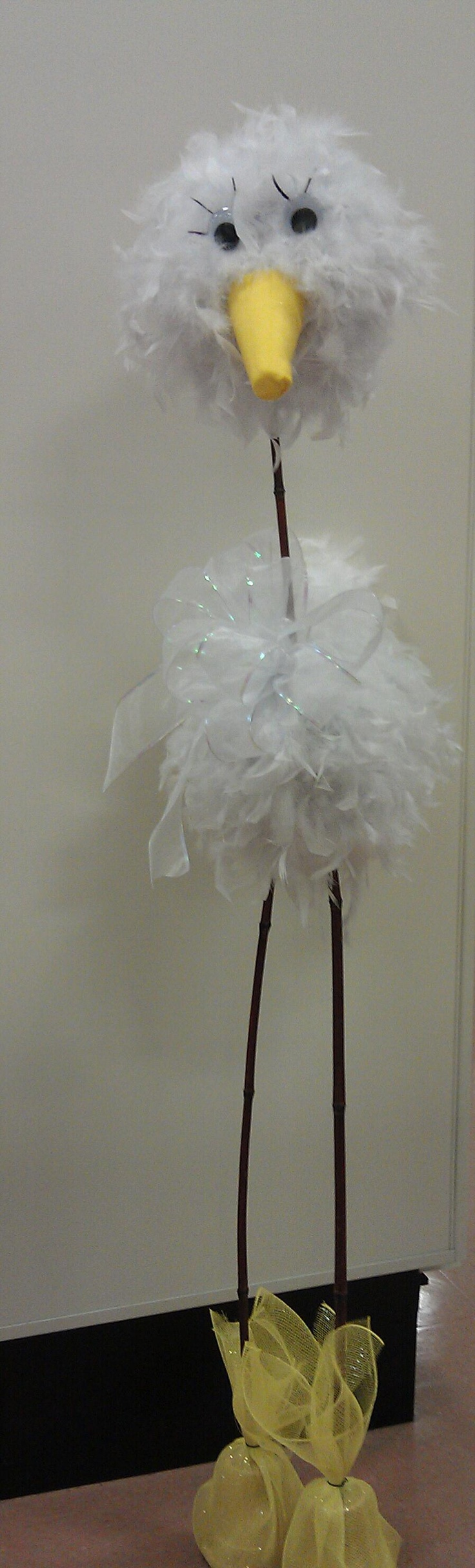 Feather stork custom for Baby Shower ... Over 5 feet tall !! Michaels arts n crafts #1035 NY