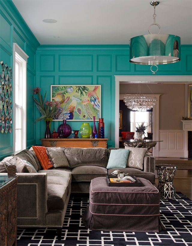 125 best images about jewel toned decor on pinterest for Teal wallpaper living room