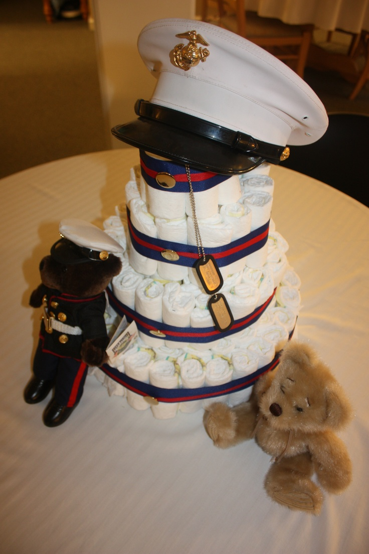 Marine theme diaper cake complete with dog tags for the ...