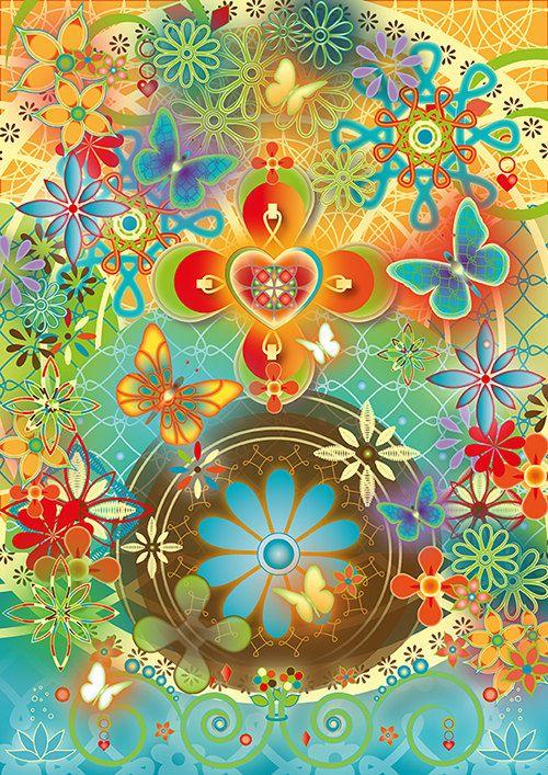 Wenskaart, magische kaart: Happy vlinders. Spirituele kaart, grafische kunst, symbolische kunst