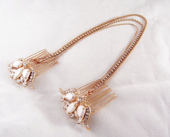 Wedding Hair Piece, Rose gold comb with chains, Boho bride, Rhinestone and pearl crown headpiece, Boho bridal headpiece, Wedding Accessories on Etsy, $92.00