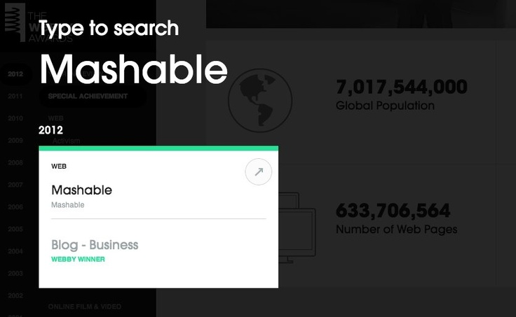 The Webby Awards Gallery and Archive Search Feature
