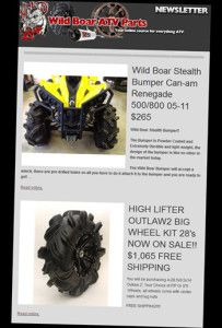 Join Our Newsletter » ATV Parts, ATV Radiator Kits, ATV Wheels Tires, ATV Suspension Springs Shocks Bumpers - Wild Boar ATV Parts