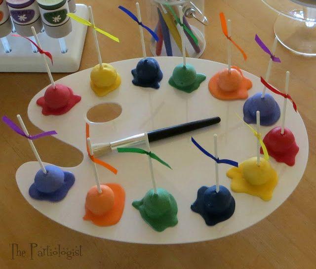 Paint splat cake pops - The Partiologist: Art Class!