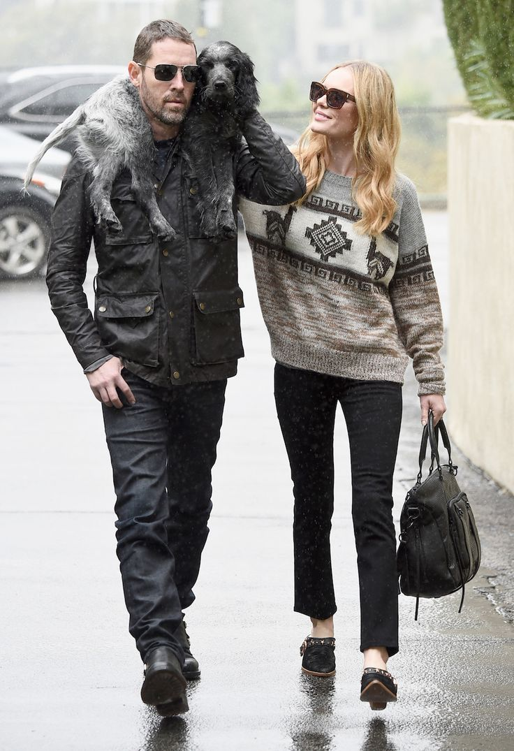 """This photo of actress Kate Bosworth, her director husband of of one year Michael Polish, and her new puppy """"Happy"""" was taken on Tuesday, a rainy day in Los Angeles. I am happy for Kate Bosworth and at peace with her current station in life."""