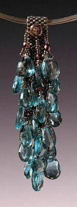 """Kay Bonitz - 'KBZ 550 London Blue Topaz, fire polished beads, Japanese delica and seed beads w/ Multi strand 16"""" Sterling cable' - Red Sky Gallery"""