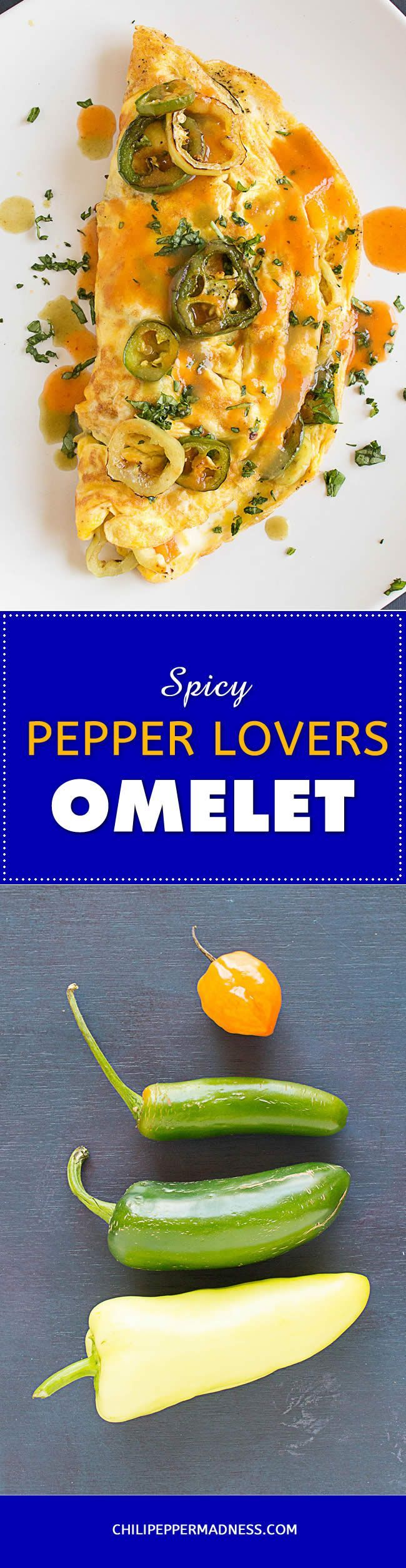 Spicy Pepper Lovers Omelet - An omelet recipe for the true chilihead made with silky eggs, cheddar cheese and a mixture of sauteed chili peppers, including flavorful jalapenos, spicy serranos, and fiery habanero peppers, all topped with your favorite hot sauce. #peppers #spicy #breakfast #omelet #recipe