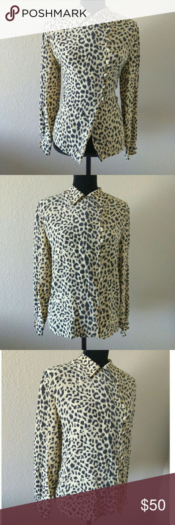 Vintage Christian Dior Silk Animal Print Blouse Stunning and one of a kind silk blouse. Authentic Vintage Christian Dior. Circa 1960-1970's. Round buttons that are not symettric in the middle more towards left. Buttons on ends of sleeves. 100% Silk. Made in Korea. Tag says size 10. Approx measurements are 20 inch chest measured from underarm to underarm. 18 inch waist, length 24 inches, arm length from shoulder hem is 21 inches. Good used vintage condition. Christian Dior Tops