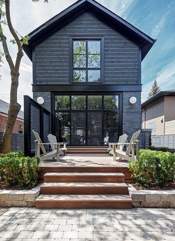 black cladding, black brick & fence,