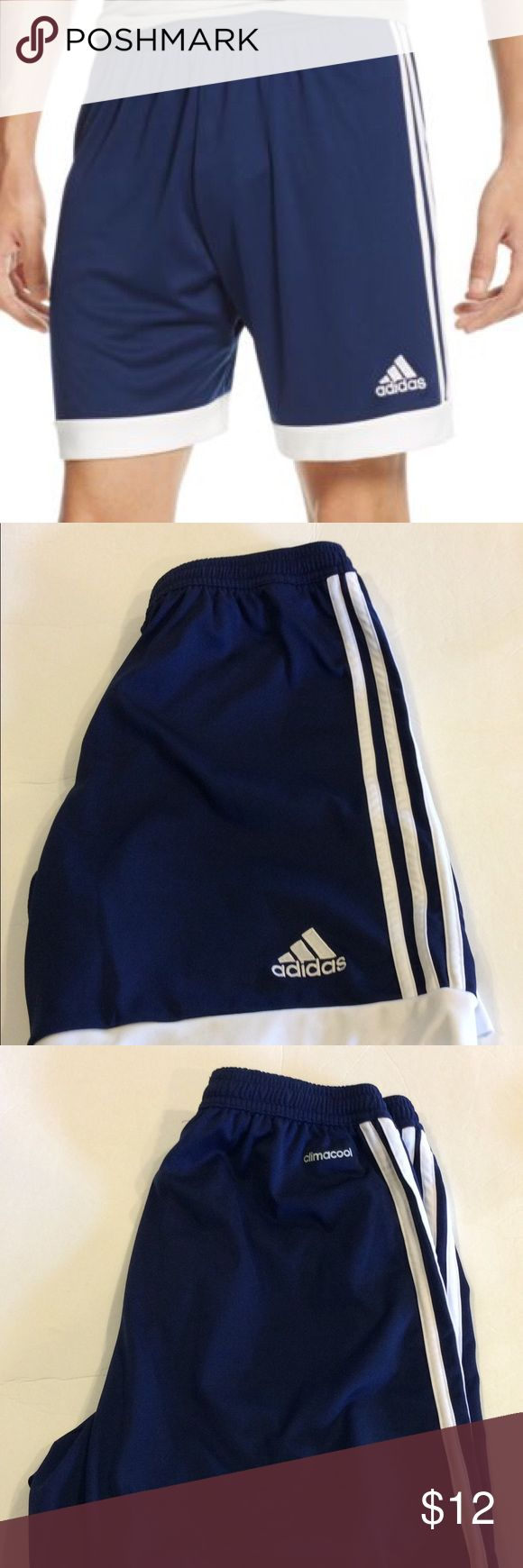 Adidas youths soccer shorts Like new condition. Inseam is 8 inches and rise is 10 1/2 inches. climacool® provides heat and moisture management through ventilation. Embroidered adidas brandmark. DryDye new dyeing technique saves 25 liters of water per jersey and uses 50% less energy and 50% fewer chemicals. 100% polyester interlock. Color is navy. adidas Bottoms Shorts