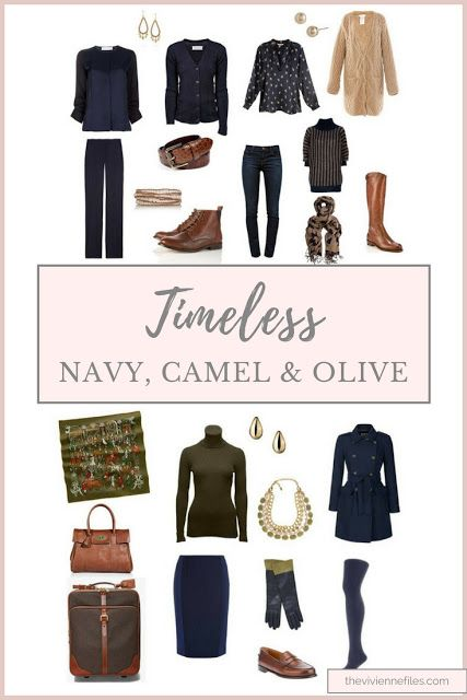 Navy, Camel and Olive truly can be timeless in a travel capsule wardrobe.