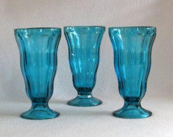 Tall Ocean Aqua Blue Sundae Glasses (3) - Vintage Kitchen Colored Glassware Decor
