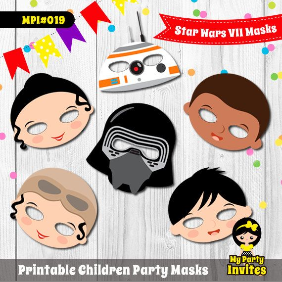 Star Wars Masks, Instant Download, Star Wars the Force Awakens  Printable Party, MPI#019