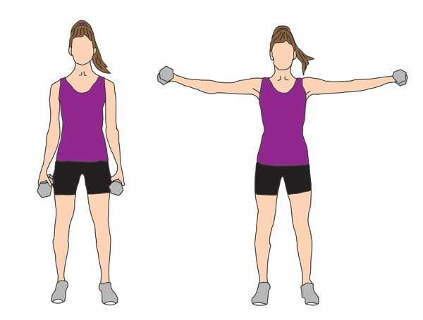Lateral | Raise A great exercise for targeting bingo wings! Stand with feet hip-width apart and lift dumbbells to the sides, making sure to keep your arms straight- and not bent at the elbows. Complete 3 sets of 10 -12 reps.