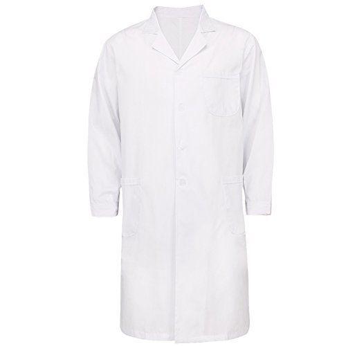 TiaoBug Femme Homme Blouse Blanche à Manches Longues Coton Medicale Vêtements de Travail pour Laboratoire Chimie Technicien Hygiene…