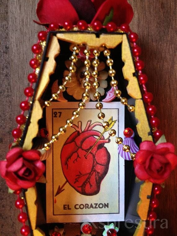 El Corazon Coffin Nicho with vintage beads, paper flowers, skull, loteria card and hand crafted mini-candles