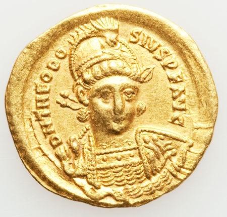 Ancients:Roman Imperial, Ancients: ROMAN EMPIRE. Theodosius II (AD 402-450). AV solidus(4.31 gm).... Image #1