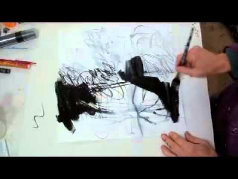 Inspirational procedures for  abstract art (here only in black and white) , by Jane Davies. Video/Youtube.