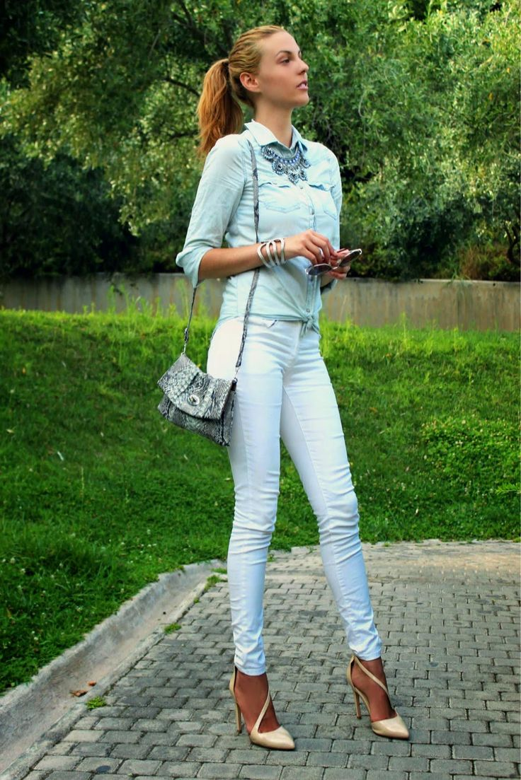 Pin By Lookastic On Denim Shirts Blue Denim Shirt White