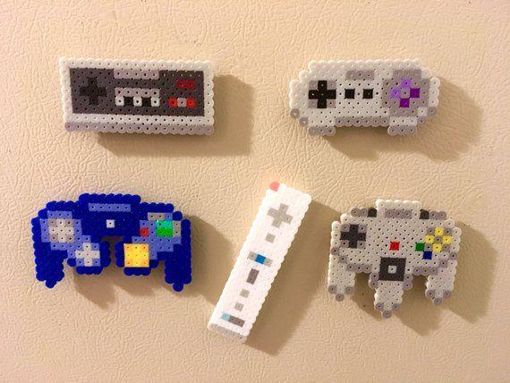 Nintendo Controller Retro Magnets Perler Bead Pins…