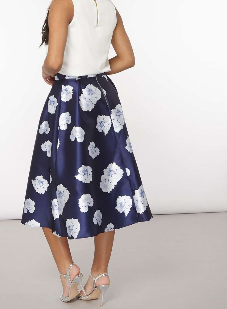 Womens **Luxe Navy Floral Skirt- Navy
