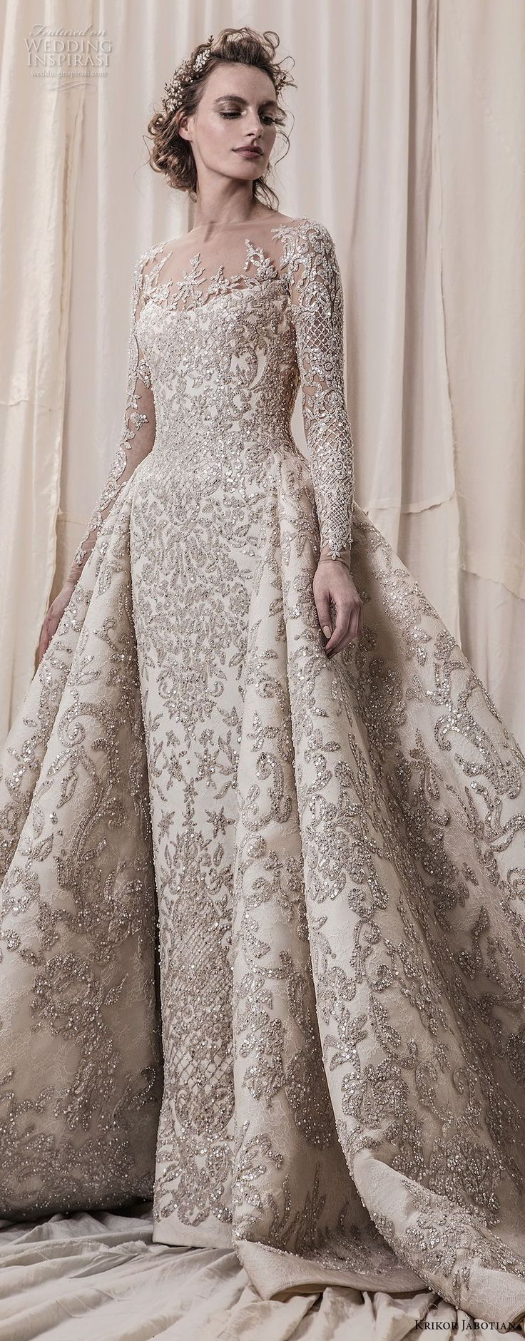 Long Sleeve Wedding Dress krikor jabotian spring 2018 bridal long sleeves scoop neck full embellishment glamorous princess ball gown a line wedding dress sheer button back royal train (04) lv