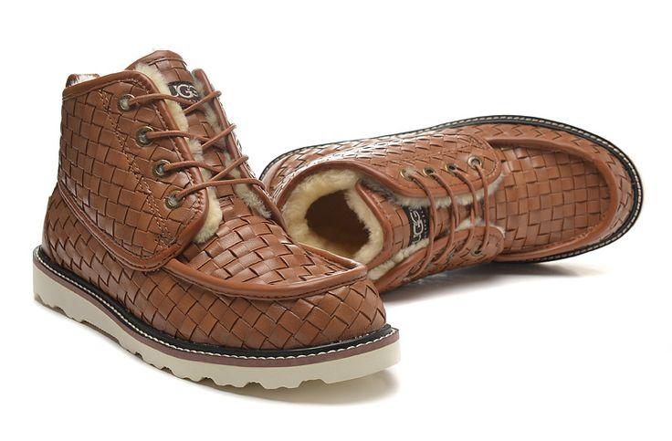 UGG støvler strikket mens pels sko kastanje 1005889