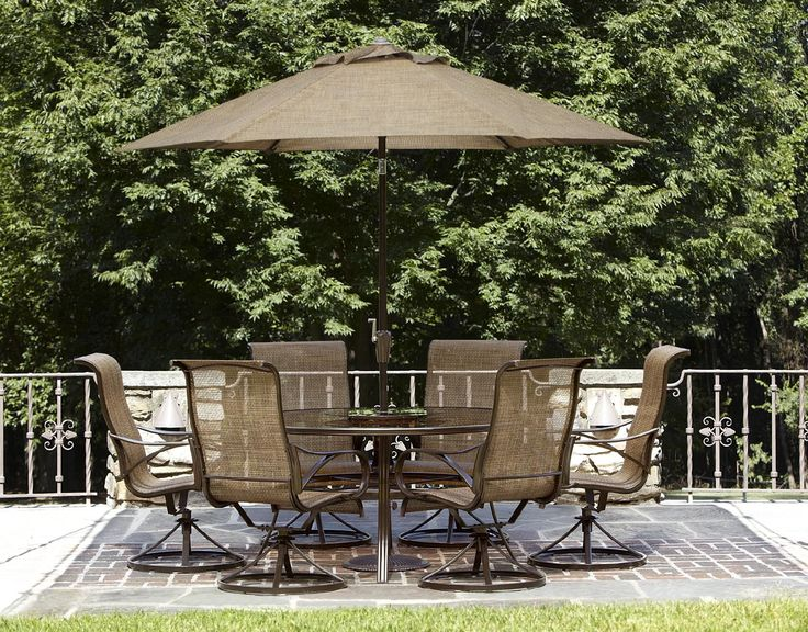 Ideal Patio Dining Sets : Dining Set With Set Of 6 Dining Chairs And Round  Dining Table With Patio Umbrella By Hampton Bay Outdoor Furniture For Patio  ... - 17 Best Images About Patio On Pinterest Dining Sets, Portable