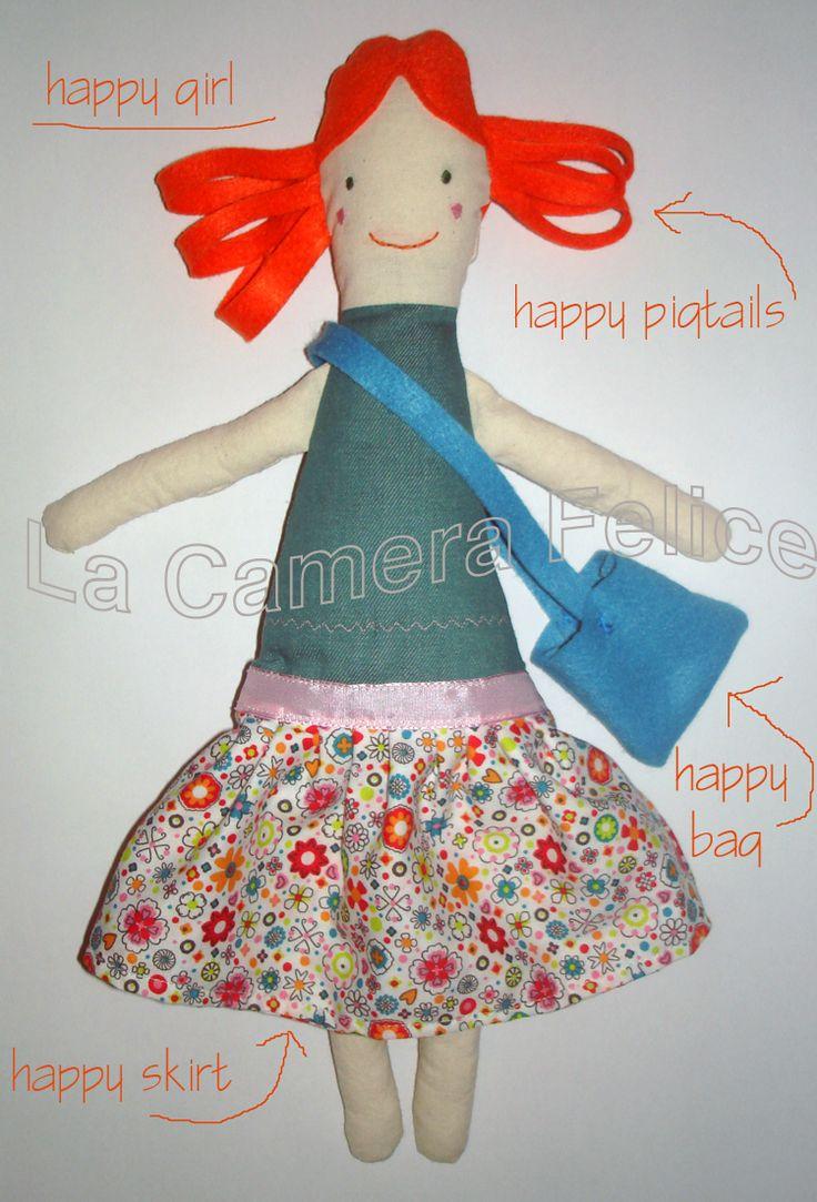 #Happy #girl, #fabric #doll by La Camera Felice http://lacamerafelice.wix.com/lacamerafelice