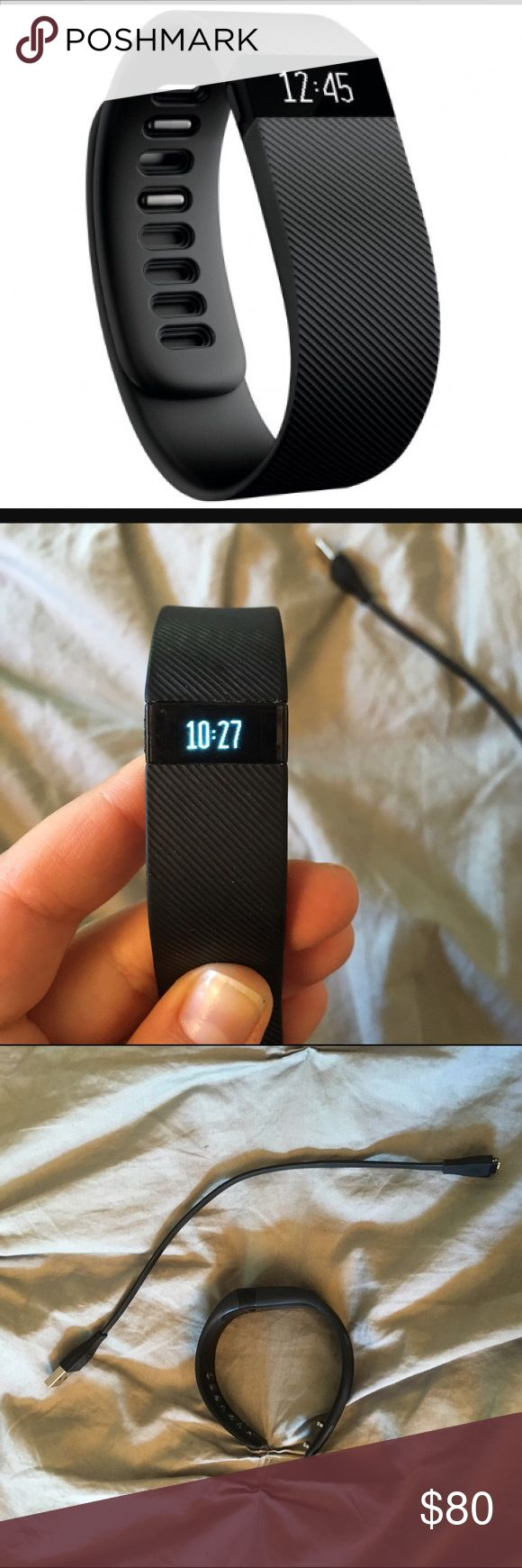 Black Fitbit charge small Selling my black Fitbit charge, size s. Works perfectly and comes with charging cable. I originally bought it for $130, and it's still in great condition. I don't need it anymore because I got a Charge HR. (Decorative cover available with bundle, see closet) Fitbit Accessories Watches