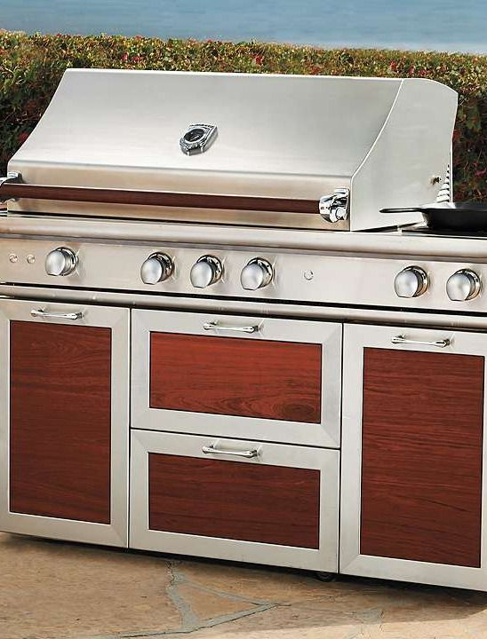 Entertain outdoors with ease with the help of the Cross-Flame Pro Grill with Wood Handles and Cart.: Outdoor Living, Entertainment Outdoor, Outdoor Kitchens, Outdoor Entertainment