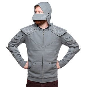 """Check out this cool Medieval Knight Hoodie. With the convenience of a full-zip hoodie, it makes its wearer look like he or she is decked out in plate armor. The spaulders and visor are removable with snaps. The """"plates"""" are reinforced with interfacing."""