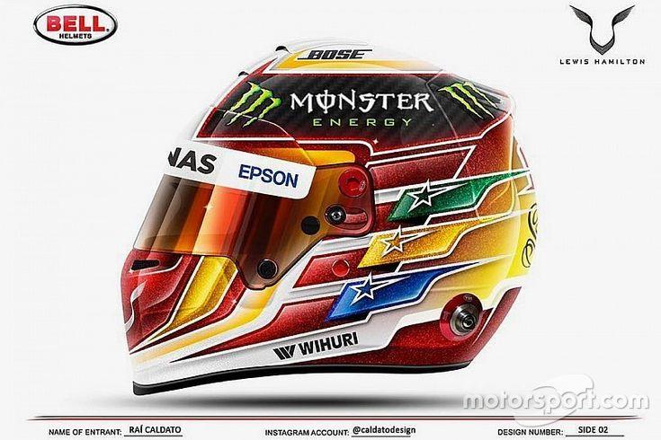 Hamilton reveals helmet design contest winner