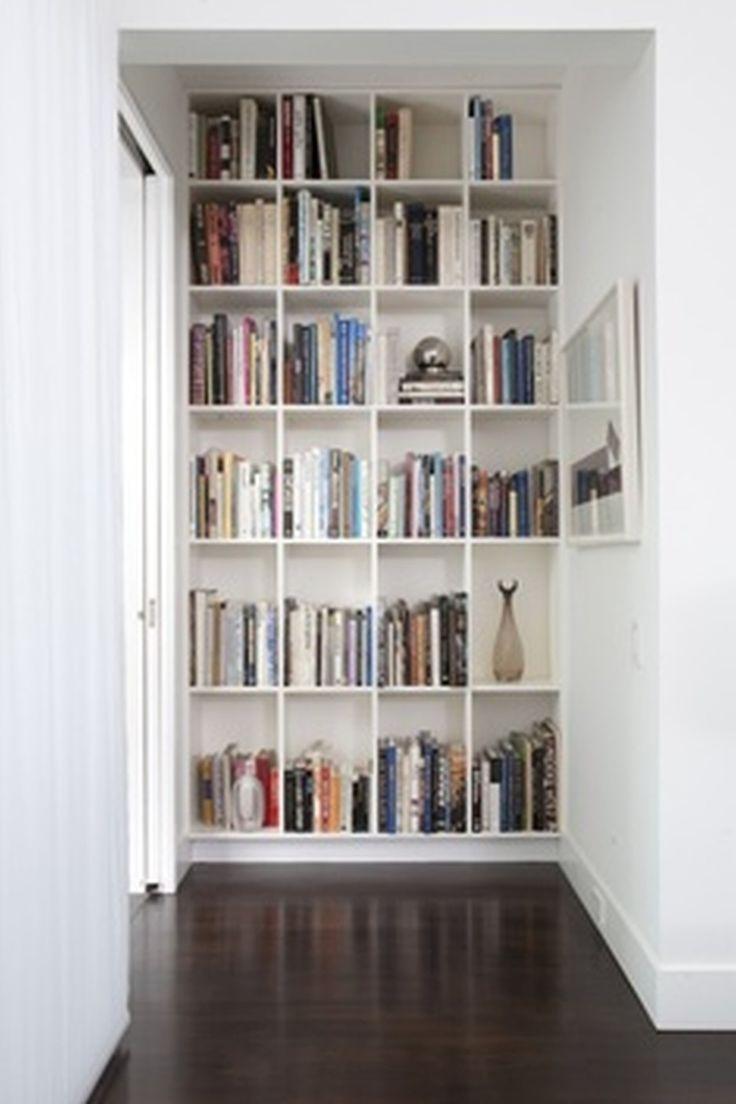 Outstanding Apartment Attracting Bookshelf Design Ideas In Bedroom With White Wooden Built Wall Bookshelf W Wall Bookshelves Diy Bookshelf Wall Bookshelves Diy