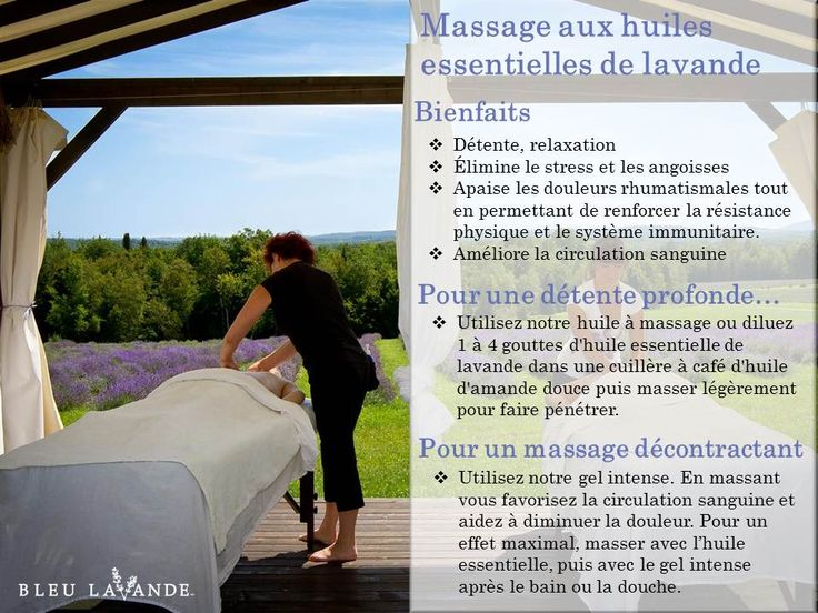 L'huile essentielle de lavande possède de nombreuses vertus et peut être utilisée de plusieurs façons!   Un massage aux huiles essentielles de lavande fine apporte de nombreux bienfaits à votre corps et votre esprit: - Détente - Relaxation - Apaisement musculaire - etc.