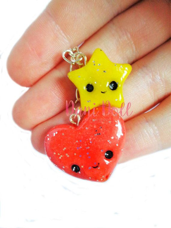Love Heart and Sparkle Star Charm Chain Kawaii Planner Phone Jewellery Accessory Glitter Pendant Lobster Clasp Red Yellow Cute Handmade by danidolldesignsx