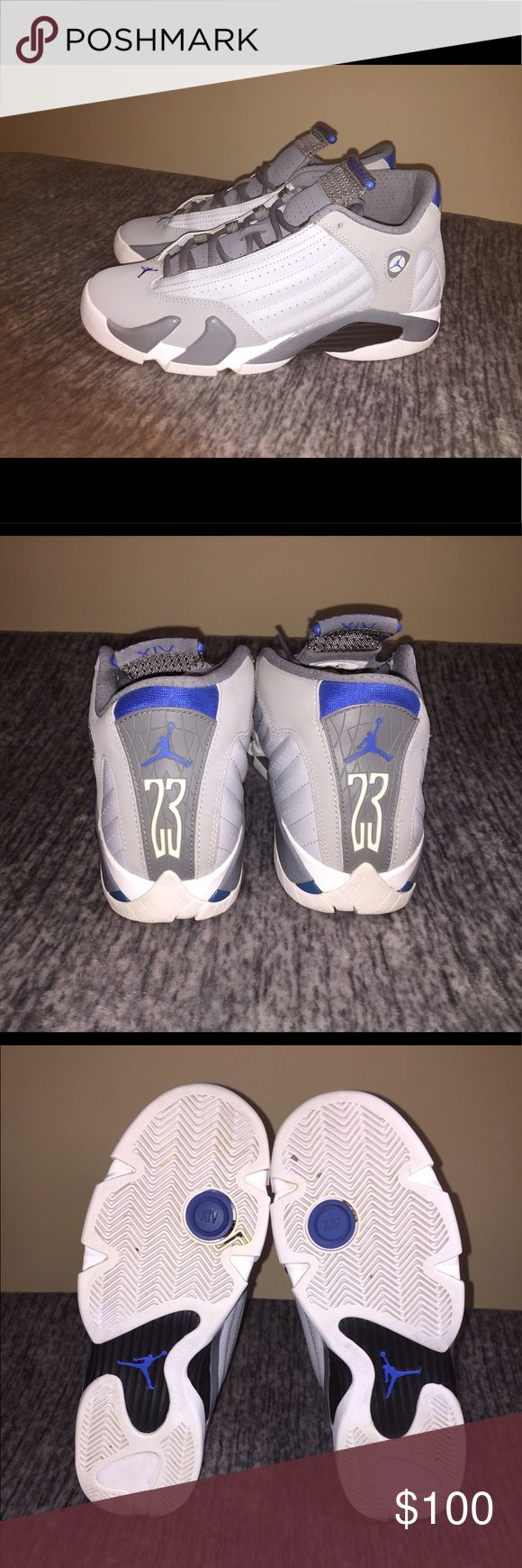 "Air Jordan Retro 14 ""Sport Blue"" Great Condition; Size: Boys 7; Color: Wolf Grey/White; Accepting Offers; NO TRADES! Air Jordan Shoes Sneakers"