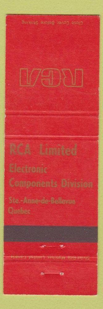 Matchbook Cover - RCA Electronic Components Ste Anne De Bellevue QC