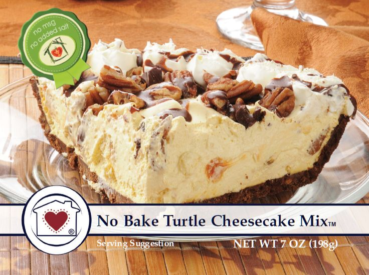 No-Bake Turtle Cheesecake Mix combines pecans, caramel, and chocolate into a rich cheesecake that's so simple to make. It's rich, delicious and will make your mouth water. Just add cream cheese, whipp