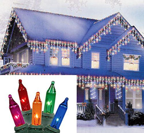 Set of 300 MultiColor Everglow Icicle Christmas Lights  White Wire ** Click image to review more details.